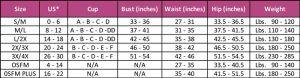 Aha Moment size chart
