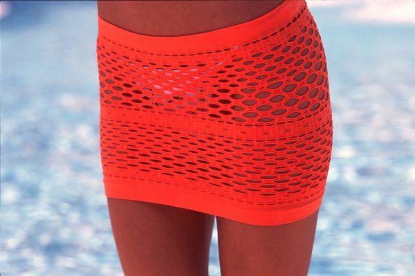 orange mesh skirt swinsuit cover up