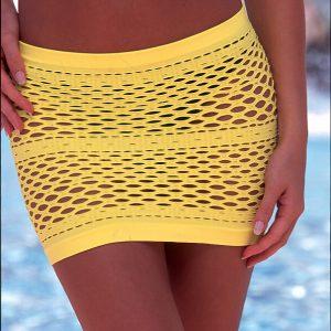 Yellow mesh skirt swimsuit cover up
